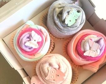 2 Bodysuits, 2 Booties and 2 Washcloth Baby Cupcake Gift Set