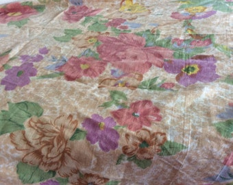 Floral Flat Twin Sheet - French Cottage Pink Lavender Tan Yellow - Bohemian Boho - habby Chic - Girls Room - Curtain Fabric -