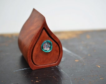 Wood box. Small wooden box. Glass drawer knob. Redgum box. Bandsaw box. Red wood box. Teardrop wood box. little wooden box. Eucalyputs.
