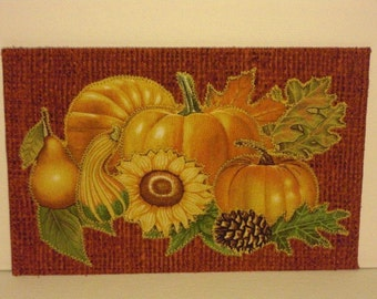 Autumn Pumpkins Birthday Postcard Housewarming Family Him Her Gift Friend Mom Room Decor Hello Fall Greeting Card Frame Fabric Quilted 4x6