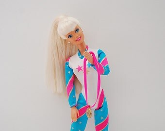 Vintage Barbie Doll, Olympic Barbie Doll With Medal, Blonde Barbie Doll, Pink and Blue Outfit