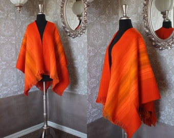 Vintage 1960's 70's Orange Striped Wool Blend Wrap Shawl Made in Columbia