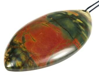 Beautiful Red Cherry Creek Jasper Marquise Pendant - 56mm x 30mm x 6mm - B4727