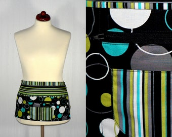Lotsa Pockets Apron- Hoopla Lagoon - for crafters, vendors, teachers, artists, servers, made-to-order, OOP fabric, LAST ONE