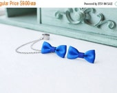 VALENTINES DAY SALE Blue Bow Silver Ear Cuff