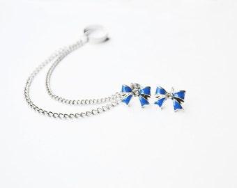 Blue Bow Silver Chain Ear Cuff Earrings (Pair)