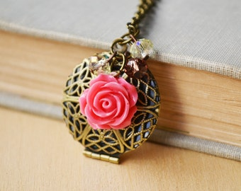 Pink Rose Diffuser Locket Customized Photo Bronze Necklace