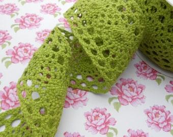 "Lace Cotton Ribbon Apple Green 2 1/4""width 1 yard"