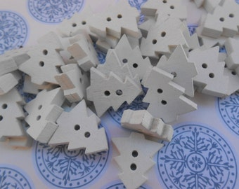 Wooden Buttons Trees 35 pcs
