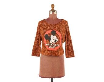 Vintage 1980's Orange Leopard Dolman Sleeves High Waist Slouchy Grunge Mickey Mouse Club T Shirt Top M