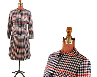 Vintage 1960's Red White + Navy Blue Checkered Plaid All Wool Preppy Two Piece Dress Set S