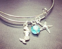 Mermaid Jewelry - Mermaid Tail Bracelet with Blue Seaglass and Starfish Charms - Adjustable Charm Bracelet - Expandable Bangle