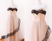 1950s Scalloped Lace Party Dress / 1950s Tulle Party Dress / Blush and Black Party Dress / 1950s Gown Medium