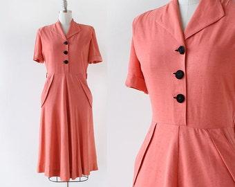 1940s Dress / Linen and Satin Dress / 1940s Polka Dot Dress / Early 1950s Dress with Pockets / Medium 28 Waist 29 Waist
