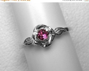 Pink Tourmaline Rose Ring in Silver, 3 mm