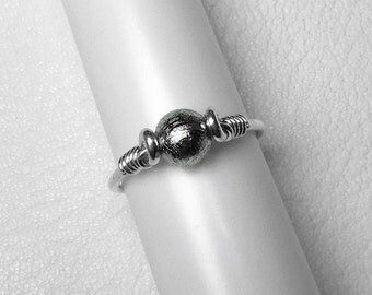 Gibeon Meteorite Ring in Silver, Gold, or Rose Gold, 6 mm
