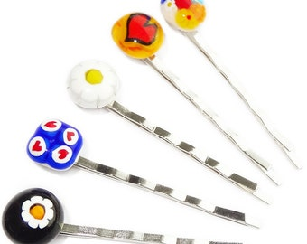 Set of 5 unique glass hairpins with colorful figures! Multicolor hairpins! Accessories of colorful glass made in our workshop!