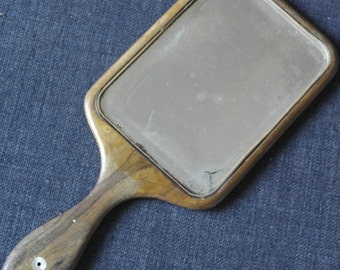 antique good size wood mother of pearl inlay hand mirror
