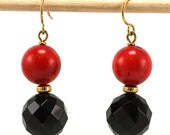 Chunky Red Coral and Faceted Black Onyx Gemstone Earrings