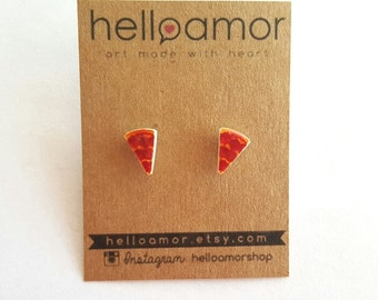 Pepperoni Slice Earring Studs Junk Food Earring Posts Jewelry Pizza Accessories Silver Plated Earring Posts