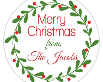 24 Merry Christmas Sticker, Christmas Gift Tag, Holiday Gift Label, Teacher Gifts, Seasons Greetings Stickers, Personalized Gift Tags (525)