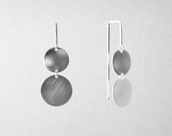 Silver or Gold-Fill Double Pendulum Disc Earrings | Sequence Collection