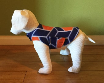 Fleece Dog Coat, Extra Small or Small, Royal Blue, Orange, and Whtie Geometric Print Fleece with Royal Blue Fleece Lining