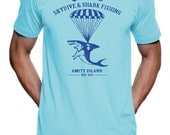 Quint's Skydive & Shark Fishing Tshirt - American Apparel T-Shirt - S M L XL 2X