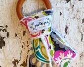 Organic Natural Wood Ring Teether - Roco Paisley - Bunny Ear Teether - Montessori Inspired