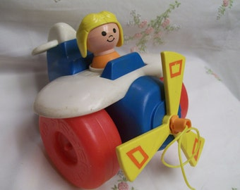 Fisher Price Plane Pull Toy Pull Along Plane 1980 #171