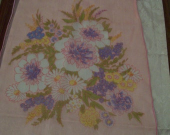 Vintage Burmel Silk Scarf Hand Rolled Made in Japan Pink Floral