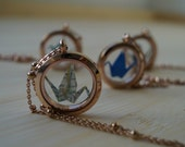 Rose gold plated Crane necklace-Farewell gift for traveler-Map crane glass locket- mother of the bride gift-Bridesmaid gift/Jewelry