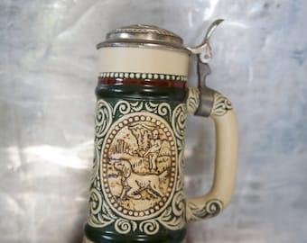 Vintage Avon Beer Stein Ceramic Green Burgundy Red Hunting & Fishing Theme