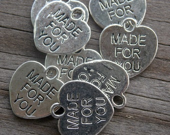 40 Silver Made For You Heart Charms 16mm Engraved Antiqued Silver