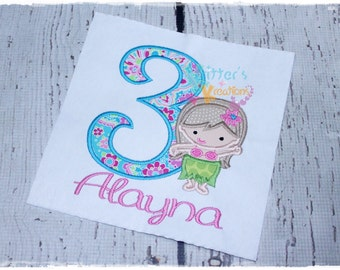 Custom Hula Girl Luau Birthday Embroidered Appliqued Shirt