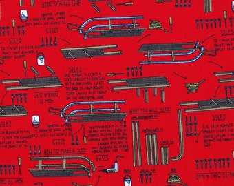 C262- 140cmx100cm Cotton  Fabric - Sprot - sledon on red