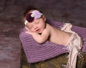 Purple Chunky Mini Blanket/ Headband Set Photo Prop, Lavender Baby Blanket