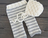 Newborn Baby Bonnet and Pants Set Photo Prop, Stripe Cream/Grey Pants and Cream Bonnet Set READY TO SHIP