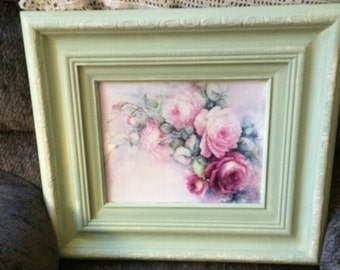 Distressed Shabby chic, nursery Floral Rose picture in green and off white