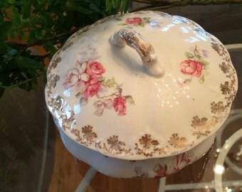 Vintage covered bowl, roses, vanity, storage,
