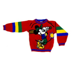 Vintage 1980s or 1990s Disney Mickey Mouse Playing Baseball Little Boy's Children's Bright Red Sweater Size 6