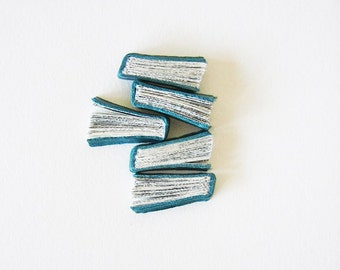Teal Quintet - Original Book Art on paper, turquoise leather, miniature book fragments, aqua blue, small artwork, 5x7 in, 14x18cm