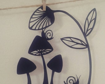 Shrooms and snails, an original mini papercut template by Loula Belle at Home