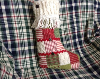 Christmas Stocking Patchwork and Chenille Farmhouse Decor