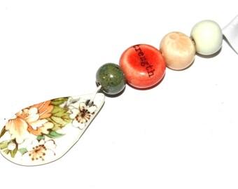 Ceramic Bead Set & Pendant Stoneware Handmade Pottery Beads Shabby Chic Quote Beads