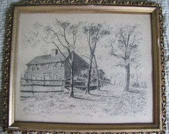 Antique Fine Art Framed Pencil Drawing of Colonial Saltbox House and Trees by M. B. Goodrich 1940