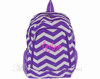 Personalized Purple Chevron Backpack Girls Booksack Zig Zag Full Size School Backpack Monogrammed Free