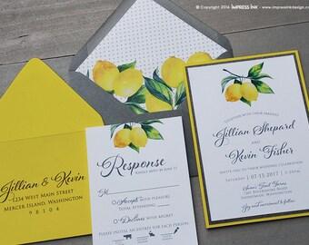 Lemons Botanical Wedding Invitation Sample | Flat or Pocket Fold Style