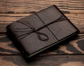 Leather Journal or Leather Sketchbook, Medium Sized, Lizard Embossed Brown Leather Handbound Notebook