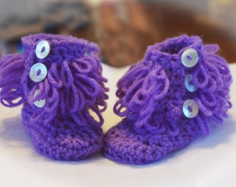 Loopy Baby Booties - Lavender Booties - Crochet Booties - Color Choices Available